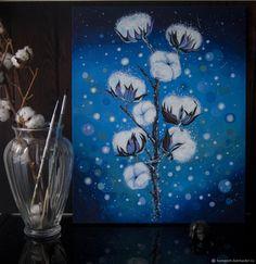 Купить Хлопок в интернет магазине на Ярмарке Мастеров Stars At Night, Star Night, Night Flowers, Blue Art, Watercolor, Instagram Posts, Nature, Paintings, Cotton