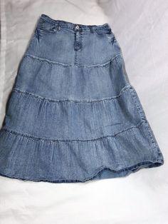 Apollo Jean Skirt Tiered Boho Long Modest Juniors Size XL Distress Wash #ApolloJeans #PeasantBoho