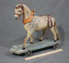 Large Antique Folk Art Carved Wood Felt Hair Horse Pull Toy w Orig Base   eBay
