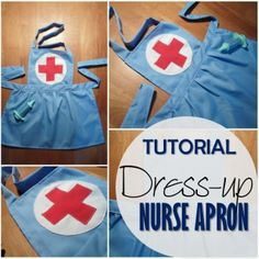 Today both my kiddies had to get vaccinated, and to take our mind off of it, our answer lay with Dress-up Nurse Apron. Nothing like a theme fitted craft! Just recently Ive been donated some fabric Dress Up Aprons, Dress Up Outfits, Dress Up Costumes, Diy Dress, Fancy Dress For Kids, Kids Dress Up, Sewing Tutorials, Sewing Crafts, Sewing Projects