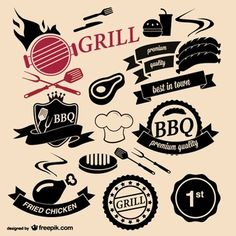 Barbecue grill house logos Logo Restaurant, Bbq Fried Chicken, Grilling Art, Grill Logo, Logo Design, Graphic Design, Menu Design, Design Shop, Grill Design