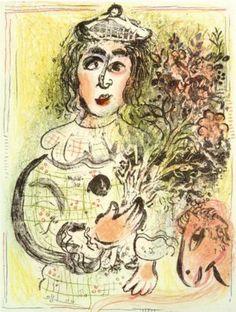 Clown with flowers   Artist: Marc Chagall Completion Date: 1963 Place of Creation: France Style: Naïve Art (Primitivism) Genre: portrait