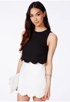 Orlina Black Scallop Layered Mini Dress - Dresses - Mini Dresses - Missguided