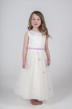 Ivory & Pink Daisy Flower Girl Party Bridesmaid Dress.  available in other colours, please see our website. UK supplier ships worldwide.