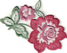 Pink Flower  - Commercial Sewing Patch - Iron On on Etsy, $1.75
