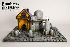 Mesa de juego, módulo de 35x35 cm.  (miniature fantastic buildings and miniature fantastic terrain) http://sombrasdeoster.blogspot.com.es/