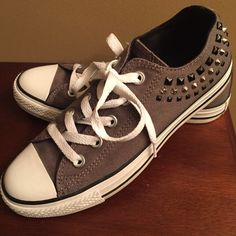 Womens Converse Like New women's converse excellent condition worn maybe 2 times dark grey color with embellishment on sides of shoes Converse Shoes Athletic Shoes
