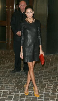 Olivia Palermo in a little leather dress yellow heels