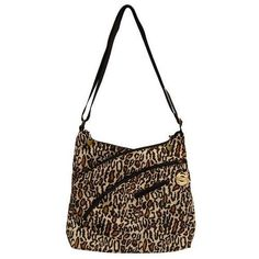 Travelon Criss-Cross Organizer Shoulder Bag (Leopard) X278-326540