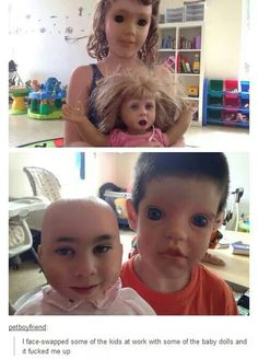 the first human with the doll face is p cool