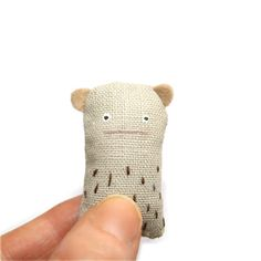 Miniature Toy Bear  Handmade Bear Woodland Creature by poosac, £14.00