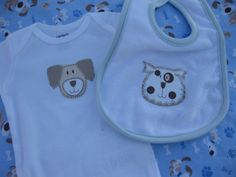 Dog Lover baby gift set with dog applique by OliveStreetStudio, $42.00