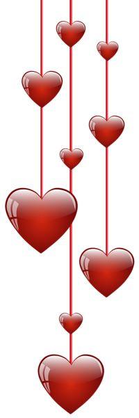 Hanging Hearts PNG Clip Art Image