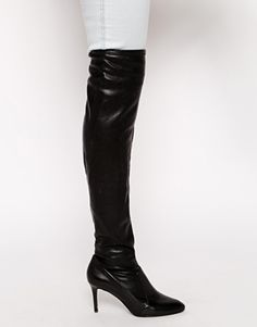 Enlarge Dune Shock Black Over The Knee Low Heeled Boots