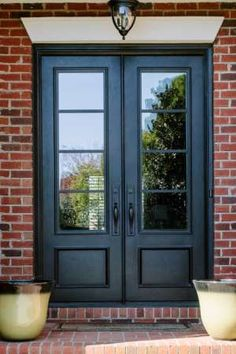 double front entry doors Decorate your doorway with these double front doors with glass from Clark Hall. Designed with traditional charm, these custom front doors welcome you ho Double Front Entry Doors, Double Doors Exterior, Front Doors With Windows, Front Door Entrance, House Front Door, Glass Front Door, House Doors, Doorway, Front French Doors
