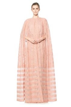 Cotton Embroidered Tulle Cape in Pink Shadow Abaya Fashion, Modest Fashion, High Fashion, Modest Wear, Modest Outfits, Modern Abaya, Tadashi Shoji Dresses, Big Dresses, Gowns With Sleeves