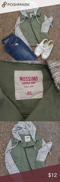 Mossimo Jean Jacket Knitted hood and sleeved army green jean jacket.  Excellent condition.  Worn a few times. Mossimo Supply Co Jackets & Coats Jean Jackets