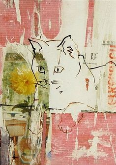 "Katten ""Goeiemorgen""  Good morning Cat.  mixed technique on paper by Lidwien Hollander"