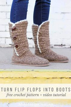"Want to learn how to make your own crochet shoes step-by-step? In Part 2 of the free Breckenridge crochet boots pattern and video tutorial, we'll work the front and back of the ankle shaft. Made with Lion Brand Wool Ease Thick & Quick in ""Toffee."""