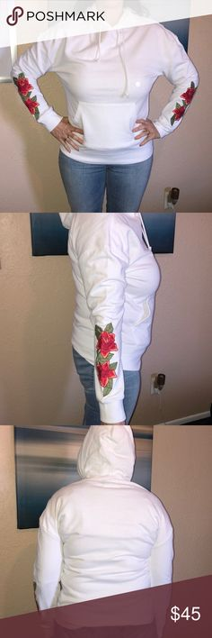 NWT PACSUN hooded sweatshirt NWT white long sleeved hooded sweatshirt with flowers on the sleeve. Size S Jackets & Coats