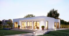 Minimalist House Design, Minimalist Architecture, Architecture Design, Bungalows, Building Design, Building A House, Small Villa, Modern Bungalow House, Modern Villa Design