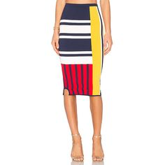 Tommy Hilfiger TOMMY X GIGI Patchwork Skirt (€140) ❤ liked on Polyvore featuring skirts, stretch skirts, white skirt, tommy hilfiger, stretchy skirts and patchwork skirt