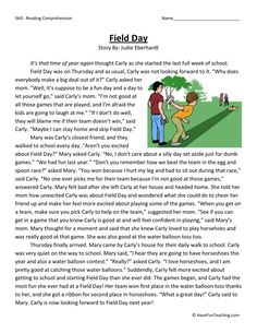 This Reading Comprehension Worksheet - Field Day is for teaching reading comprehension. Use this reading comprehension story to teach reading comprehension. 4th Grade Reading Worksheets, Free Reading Comprehension Worksheets, Reading Fluency, Reading Intervention, Reading Passages, Reading Strategies, Reading Skills, Writing Skills, Teaching Reading