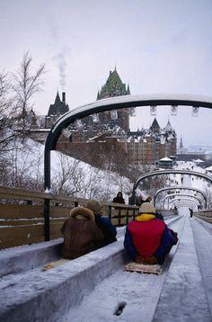 The toboggan slide near the historic landmark Frontenac Hotel in Quebec City, Canada.
