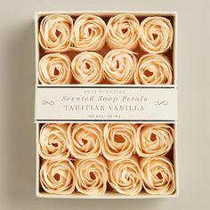 One of my favorite discoveries at WorldMarket.com: Vanilla Soap Petals, 20 Pieces