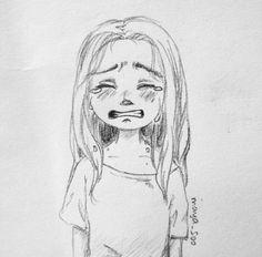 New drawing sad sketches faces Ideas - Art Sketches Sad Sketches, Sad Drawings, Girly Drawings, Art Drawings Sketches Simple, Pencil Art Drawings, Cartoon Drawings, Doodle Art, Doodle Sketch, Cry Drawing