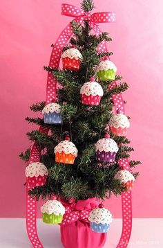 Cupcake tree. Also take a look at the picture of the curtains hung up using a round ring! Love it!!!