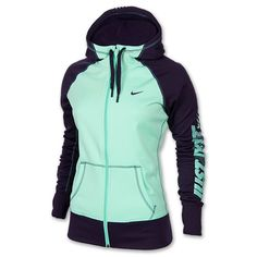 Women's Nike All Time Graphic Full-Zip Hoodie | FinishLine.com | Green Glow/Purple Dynasty