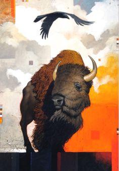 Craig Kosak Paintings - Two Paths Buffalo Painting, Buffalo Art, American Indian Art, Native American Art, American Bison, Illustration Photo, Raven Art, Rabe, Cow Art