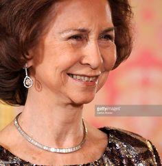 Queen Sofia, diamond earrings and necklace Queen Sophia, Princess Sophia, Royal Tiaras, Royal Jewelry, Crown Jewels, Wedding Earrings, Diamond Earrings, Royalty, Victoria
