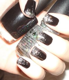 """Black Ice"" New Years Eve Nails. OPI Black Onyx China Glaze Nova. Cute, going to do this."