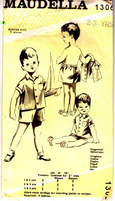 1950s Maudella Sewing Pattern No 1306 for Boys by jennylouvintage