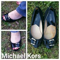 Michael Kors Peep Toe Black 7.5 Leather  Flats Michael Kors Peep Toe Black 7.5 Leather  Flats. Patent leather and suede with silver buckle has M and a K on the buckle.  There is a water stain on the inside, not the outside and a few Knicks and scratches on the silver buckle, but is good used condition, comfortable flats. Michael Kors Shoes Flats & Loafers