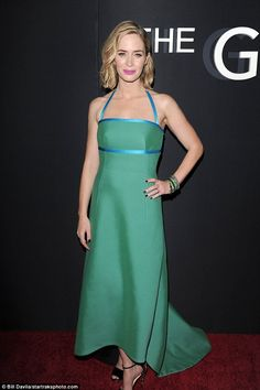 Serene in green: Emily Blunt simply stunned at the premiere of The Girl On The Train in New York on Tuesday