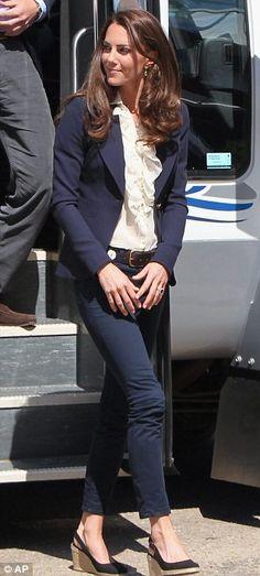 Duchess of Cambridge.. J Brand jeans, a brown belt by Linda Camm, ruffled shirt by Malene Birger, Smythe navy blazer, and L.K. Bennett wedges
