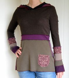 Turnaround Desigs Reconstructed Upcycled Tshirt Tunic Top with Hoodie Smallish