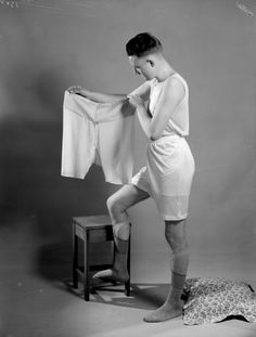 Make sure you carry a spare. [1920 men's underwear advertising photo'.]