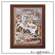 Exact copy of byzantine silver icon depicting Saint Dimitrios. Byzantine, Handmade Silver, Saints, Workshop, Greek, Icons, Traditional, Gold, Atelier