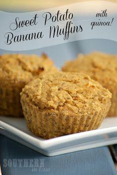 Quinoa Sweet Potato Banana Muffins - Healthy, Gluten Free, Low Fat, Vegan