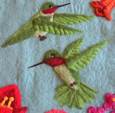 two hummingbirds - needle felted wool wall hanging.