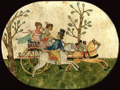 SUNDAY CARRIAGE RIDE - Ca.1810 water color on OVAL BOX