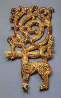 Scythian Stag (wood, gold, silver) 4thC BCE, Eurasia