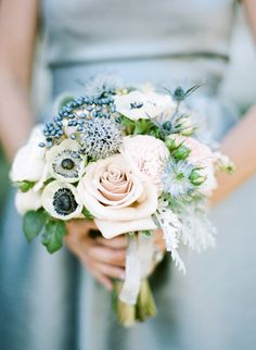 Snowy blue accents make this bouquet the perfect choice for a winter wedding. This lovely bouquet was captured by Sylvie Gil Photography. Calla Lillies Wedding, Flower Bouquet Wedding, Floral Wedding, Anemone Wedding, Trendy Wedding, Elegant Wedding, Flower Bouquets, Rustic Wedding, Neutral Wedding Colors