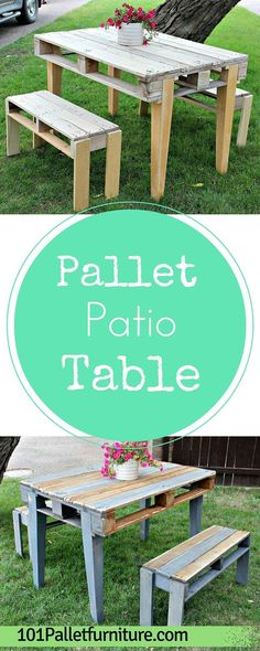 DIY Pallet #Patio #Table With Benches   Pallet Furniture