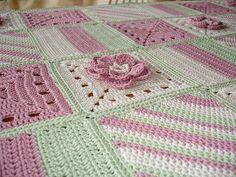 Patchwork sampler baby blanket by Simona Merchant-Dest Designs, via Flickr