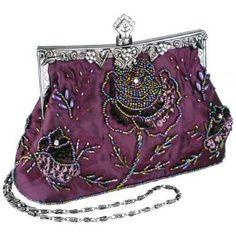 Purple Exquisite Antique Seed Beaded Rose Evening Handbag, Clasp Purse Clutch w/Hidden Handle and Chain Vintage Purses, Vintage Bags, Vintage Handbags, Vintage Outfits, Beaded Purses, Beaded Bags, Vintage Accessories, Fashion Accessories, Moda Hippie